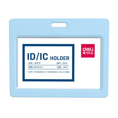 Упаковка бейджей для пропуска DELI 8342L-BLUE, 90х54мм, горизонтальный, без крепления, полипропилен, голубой 6 шт./кор. бейдж для пропуска deli e5758 100х80мм горизонт без крепления пвх прозрачный упак 10шт 10 шт кор