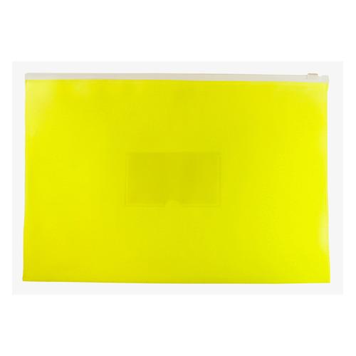Папка на молнии ZIP Бюрократ Double Neon DNEBPM4AYEL A4+ полипропилен 0.15мм желтый карм.для визит. 12 шт./кор. папка на молнии zip бюрократ bpm4ared a4 полипропилен 0 15мм карм для визит цвет молнии красный 12 шт кор