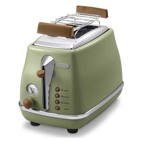 Тостер DELONGHI CTOV 2103.GR, зеленый [0176129062] delonghi ctov 2103 gr icona vintage ekmek kızartma makinası 3 farklı renk