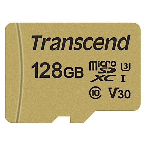 Карта памяти microSDXC UHS-I U3 TRANSCEND 500S 128 ГБ, 95 МБ/с, Class 10, TS128GUSD500S, 1 шт. карта памяти sdxc transcend 128 гб 22 мб с class 10 ts128gsdxc10 1 шт