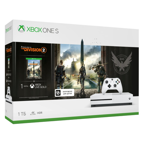 цена на Игровая консоль MICROSOFT Xbox One S с 1ТБ памяти, игрой Tom Clancys The Division 2, 234-00882, белый