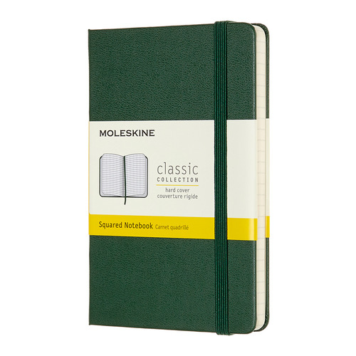 Блокнот MOLESKINE Classic, 192стр, в клеточку, твердая обложка, зеленый [mm712k15] блокнот moleskine le sakura pocket 90x140мм обложка текстиль 192стр линейка темно розовый