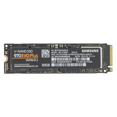 SSD накопитель SAMSUNG 970 EVO Plus MZ-V7S500BW 500Гб, M.2 2280, PCI-E x4, NVMe внутренний ssd накопитель samsung 960 evo 1000gb m 2 pci e 3 0 x4 tlc черный mz v6e1t0bw