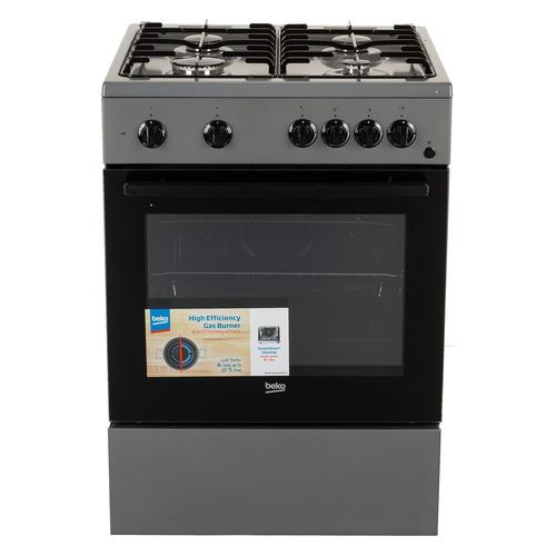 Газовая плита BEKO FFSS62010GS, электрическая духовка, серебристый и черный