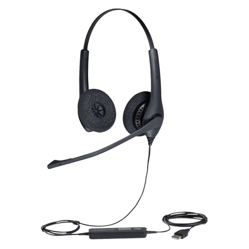 Гарнитура JABRA BIZ 1500 Duo, для контактных центров, накладные, черный [1559-0159] гарнитура plantronics pl hw710 для контактных центров накладные черный