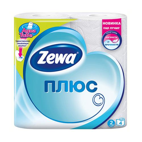 Бумага туалетная ZEWA Плюс, 2-х слойная, 4шт [144051]