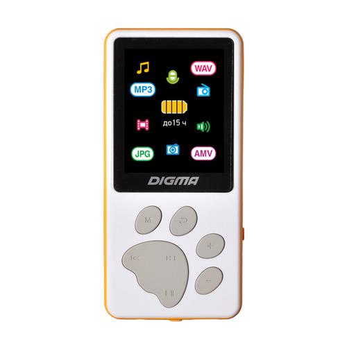 MP3 плеер DIGMA S4 flash 8ГБ белый/оранжевый