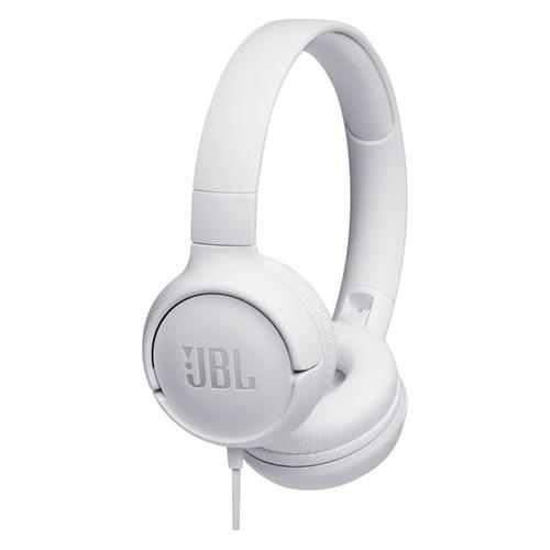 Наушники с микрофоном JBL T500, 3.5 мм, накладные, белый [jblt500wht] jbl cs752