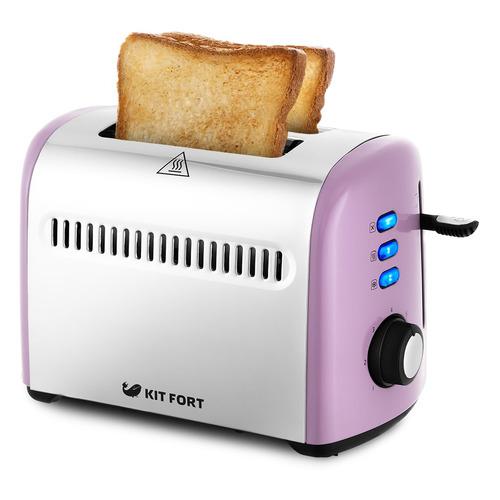 Тостер KITFORT КТ-2026-4, фиолетовый/серебристый цена и фото
