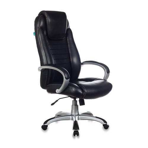 Кресло руководителя БЮРОКРАТ T-9923, на колесиках, искусственная кожа [t-9923/black-pu] кресло руководителя бюрократ t 9910n black черный искусственная кожа пластик серебро
