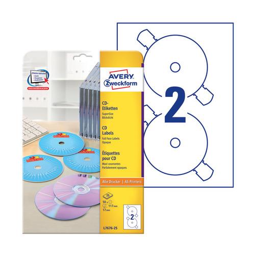 Этикетки Avery Zweckform CD/DVD L7676-25 A4/196г/м2/50л./белый супер глянец самоклей. для лазерной п киномарафон супер фильмы 4 dvd
