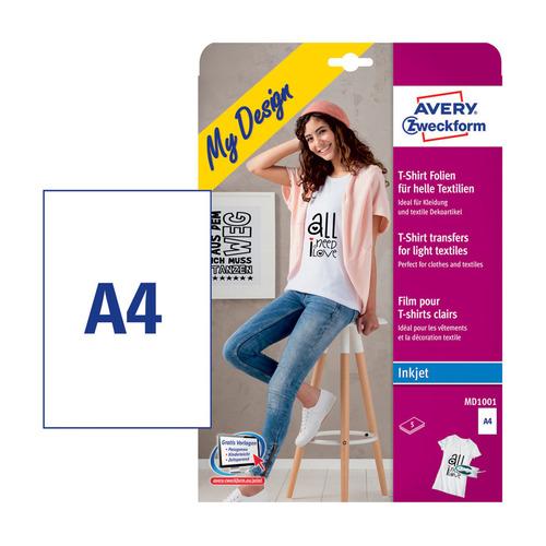 Термотрансфер Avery Zweckform MD1001 A4/5л./белый матовое для струйной печати