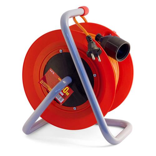 Удлинитель силовой LUX К1-О-50-22050 2x0.75кв.мм 1розет. 50м ПВС 6A катушка оранжевый цена и фото