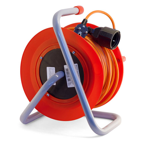 Удлинитель силовой LUX К1-Е-30-22130 3x0.75кв.мм 1розет. 30м ПВС 10A катушка оранжевый