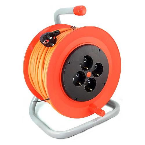 Удлинитель силовой LUX К4-Е-30-24130 3x0.75кв.мм 4розет. 30м ПВС 10A катушка оранжевый