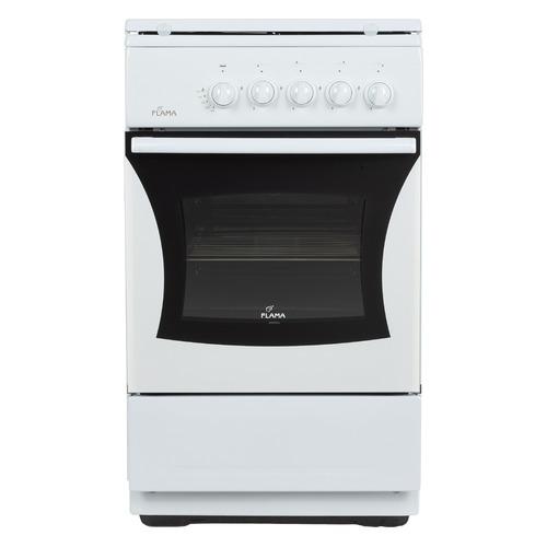 Газовая плита FLAMA FG 24023 W, газовая духовка, металлическая крышка, белый