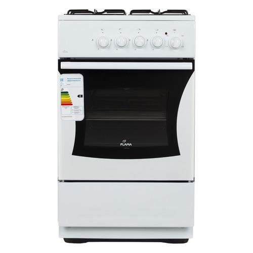 Газовая плита FLAMA AK 1416 W, электрическая духовка, без крышки, белый газовая плита flama ak 1416 w