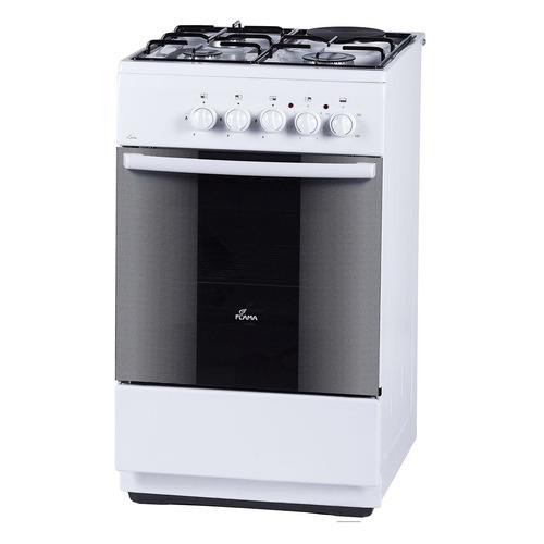 Газовая плита FLAMA RK 23-105 W, электрическая духовка, без крышки, белый электрическая плита flama ae 1403 w белый