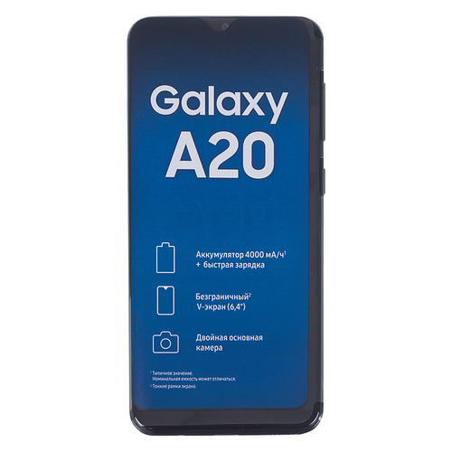 Смартфон SAMSUNG Galaxy A20 32Gb, SM-A205F, черный SM-A205FZKVSER