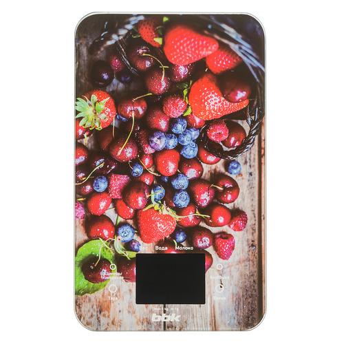 Весы кухонные BBK KS107G, рисунок/ягоды кухонные весы bbk ks102g blue