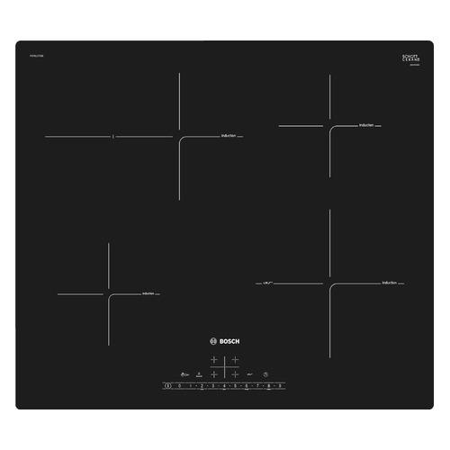 Индукционная варочная панель BOSCH PUF611FC5E, индукционная, независимая, черный варочная панель bosch pch6a6b90r независимая черный