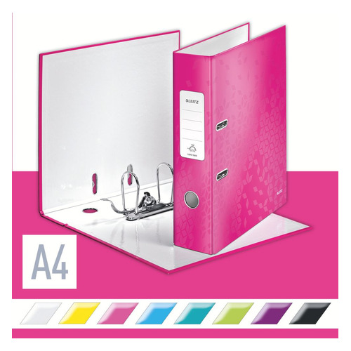 цена на Папка-регистратор Esselte Leitz WOW 10050023 A4 80мм розовый 180 градусов