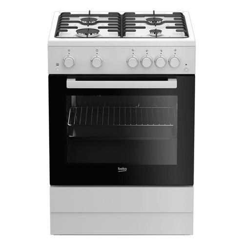 Газовая плита Beko FSGT62110GW, газовая духовка, белый и черный газовая плита beko ffsg42012w газовая духовка белый