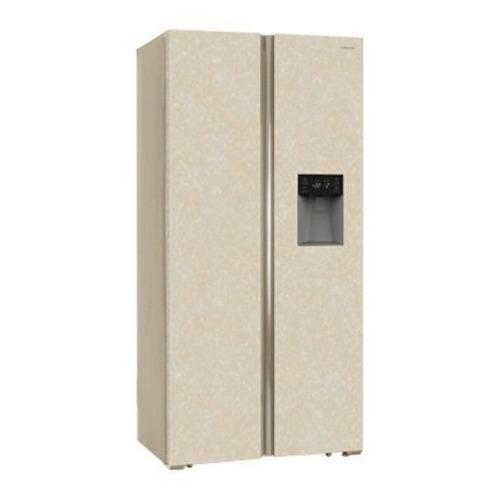 Холодильник HIBERG RFS-484DX NFYm, двухкамерный, бежевый мрамор