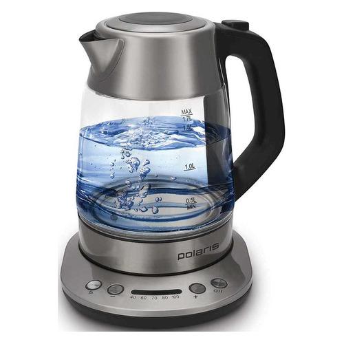 Чайник электрический POLARIS PWK 1777CGLD, 1800Вт, черный чайник электрический polaris pwk 1864ca 1800вт серебристый