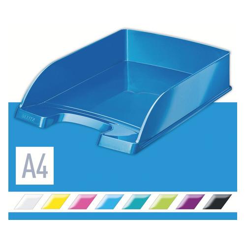 Лоток горизонтальный Esselte 52263036 Leitz WOW A4 255x70x357мм синий металлик полистирол