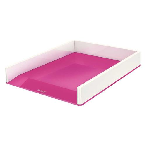 Лоток горизонтальный Esselte 53611023 Leitz WOW A4 267x49x336мм розовый металлик/белый полистирол