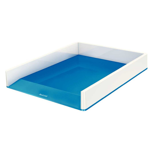 Лоток горизонтальный Esselte 53611036 Leitz WOW A4 267x49x336мм синий металлик/белый полистирол