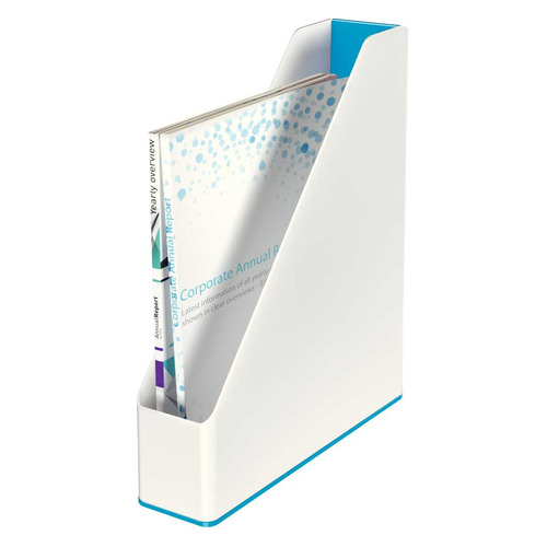 Лоток вертикальный Esselte 53621036 Leitz WOW A4 73x318x272мм синий металлик/белый полистирол