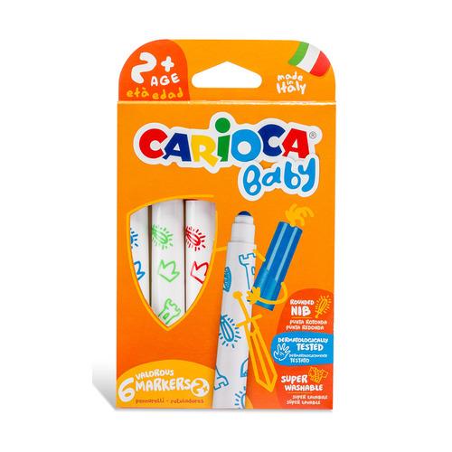 Фломастеры Carioca Baby 2+ 42813 круг. 6цв. (6шт.) 24 шт./кор. фломастеры carioca bi color 42269 12цв двусторонние 6шт 24 шт кор