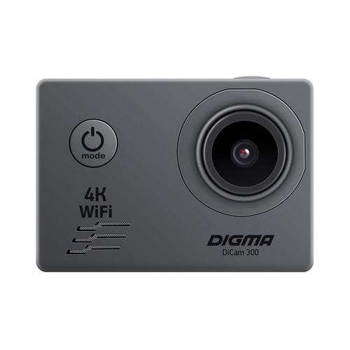 Экшн-камера DIGMA DiCam 300 4K, WiFi, серый [dc300]