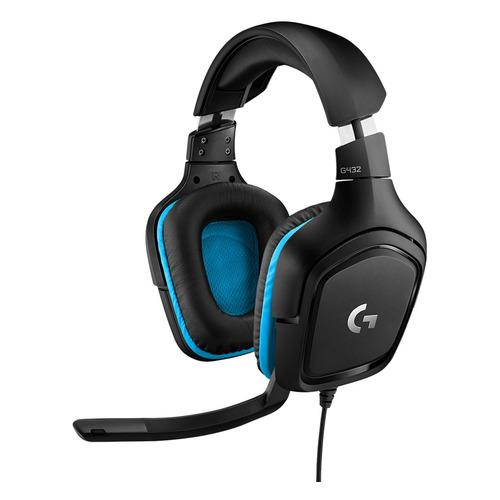 Гарнитура LOGITECH G432 Leatherette, 981-000770, для ПК и игровых консолей, накладные, черный / синий гарнитура