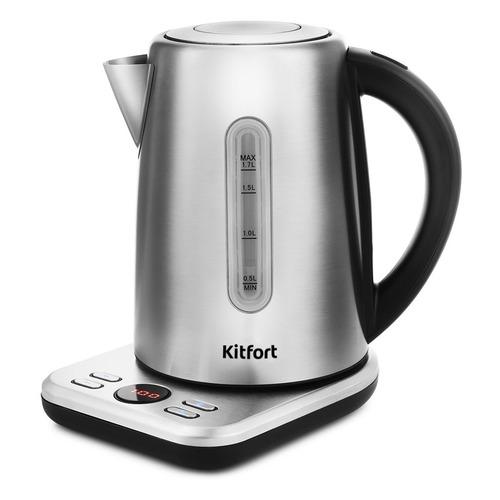 Чайник электрический KITFORT КТ-661, 2200Вт, черный и серебристый чайник электрический kitfort кт 609 серебристый черный