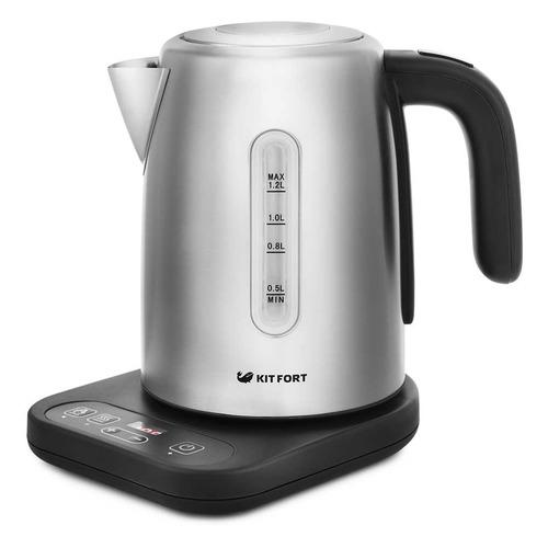 Чайник электрический KITFORT КТ-662, 2200Вт, черный и серебристый чайник электрический kitfort кт 609 серебристый черный