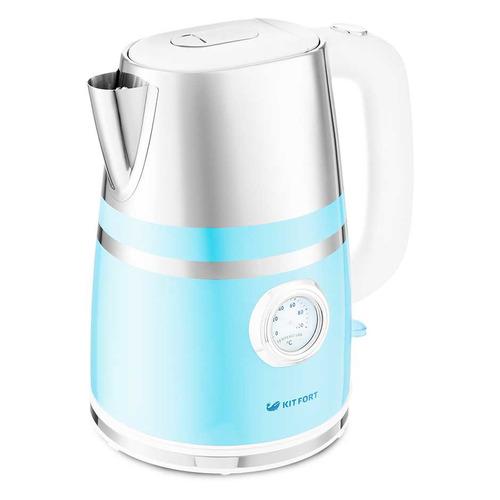 Фото - Чайник электрический KITFORT КТ-670-4, 2200Вт, голубой чайник электрический kitfort кт 670 4 2200 вт голубой 1 7 л металл пластик