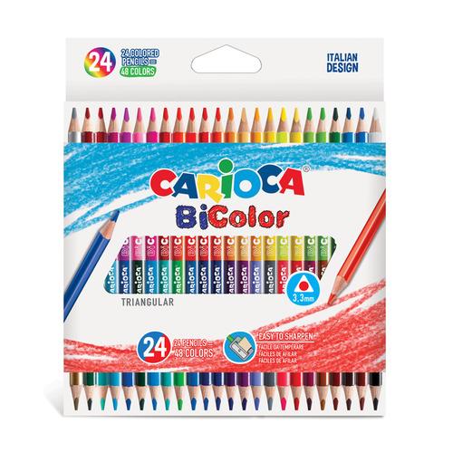 Фото - Упаковка карандашей цветных CARIOCA Bicolor 43031, 24 цв., коробка картонная 6 шт./кор. краски акварельные carioca 42401 24цв 30мм кисть пл кор 6 шт кор