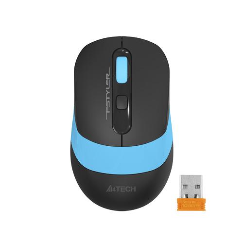 Фото - Мышь A4TECH Fstyler FG10, оптическая, беспроводная, USB, черный и синий [fg10 blue] мышь a4tech fstyler fg10 черный оранжевый оптическая 2000dpi беспроводная usb 4but