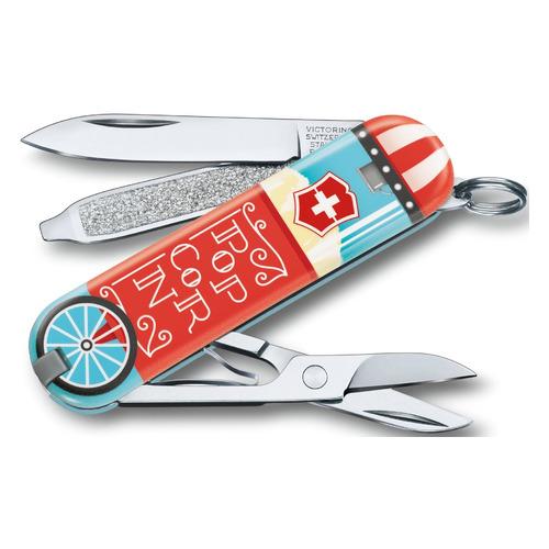 Складной нож VICTORINOX Classic LE2019 Let it Pop, 7 функций, 58мм, голубой / рисунок складной нож victorinox classic le2020 deep dive 7 функций 58мм голубой рисунок