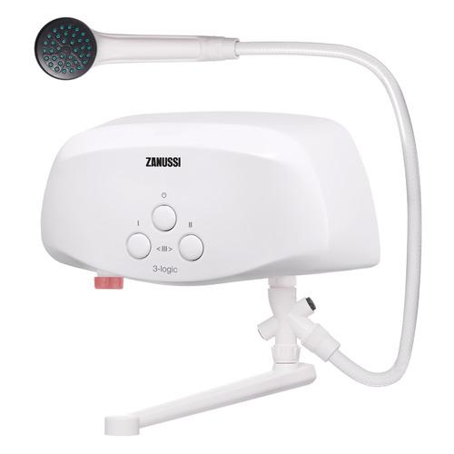 Водонагреватель ZANUSSI 3-logic TS, проточный, 6.5кВт, кран и душ, белый [нс-1064840]