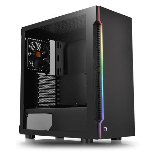 Корпус ATX THERMALTAKE H200 TG RGB, Midi-Tower, без БП, черный корпус corsair crystal series 570x rgb cc 9011098 ww atx mid tower