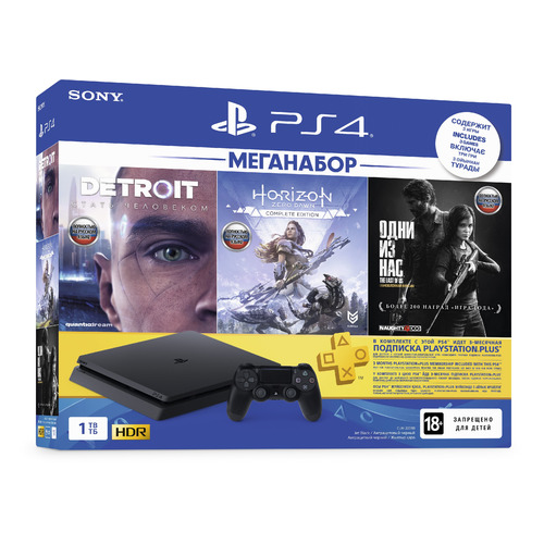 Игровая консоль SONY PlayStation 4 Detroit, Horizon: Zero Dawn,The Last of US 1ТБ, CUH-2208B, черный игровая консоль sony playstation 4 slim 1tb black cuh 2208b gran turismo sport god of war horizon zero dawn ce psn 3 месяца