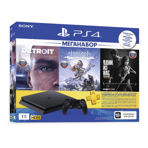 Игровая консоль PLAYSTATION 4 с 1 ТБ памяти, играми Detroit, Horizon: Zero Dawn,The Last of US, CUH-2208B, черный цена и фото