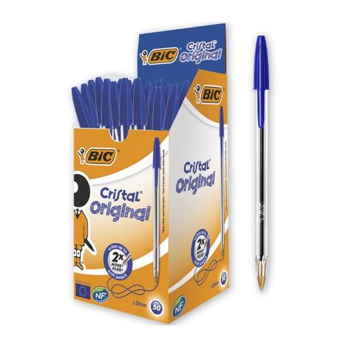 Упаковка ручек шариковых BIC Cristal, 1 стержень, 1мм, синий, коробка картонная [847898] 50 шт./кор.