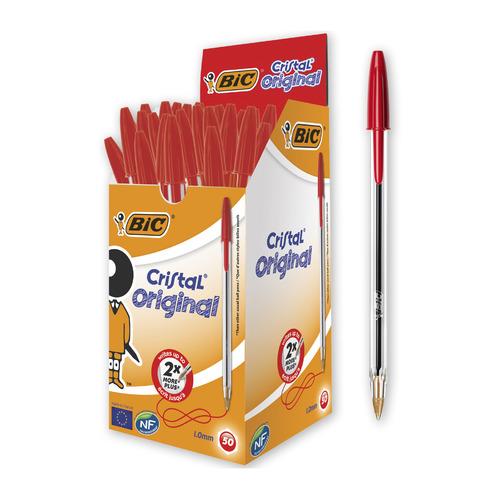 Ручка шариковая BIC Cristal, 1 стержень, 1мм, красный, коробка картонная [847899] 50 шт./кор.
