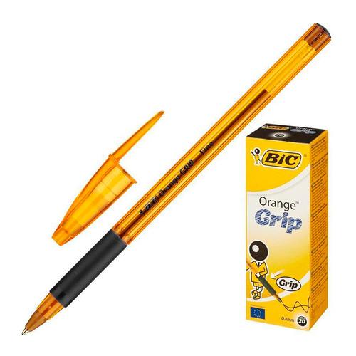 Упаковка ручек шариковых BIC Orange grip fine, 1 стержень, 0.7мм, черный, коробка картонная [811925] 20 шт./кор.