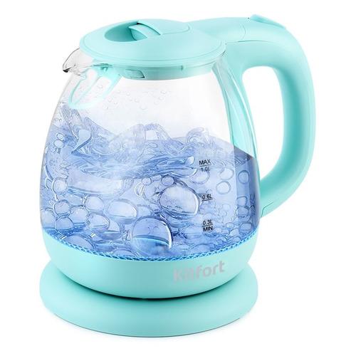 Чайник электрический KITFORT КТ-653-1, 1100Вт, голубой недорого